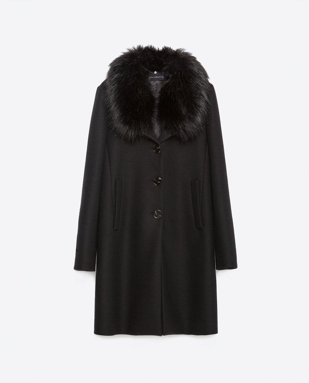 zara coat with faux fur collar, $199