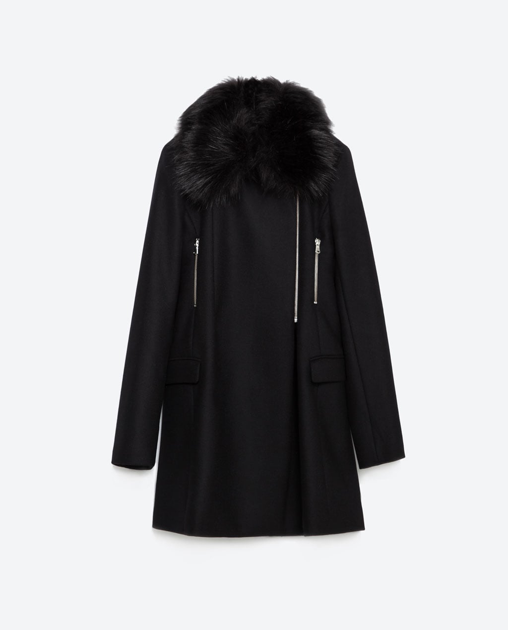 zara coat with faux fur and zippers, $199