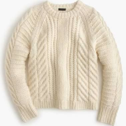 j. crew chunky cable sweater, $278