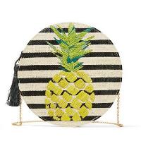 kayu striped straw bag, $130