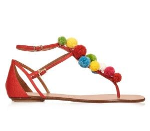 aquazzura raffia pon pon sandal, $563