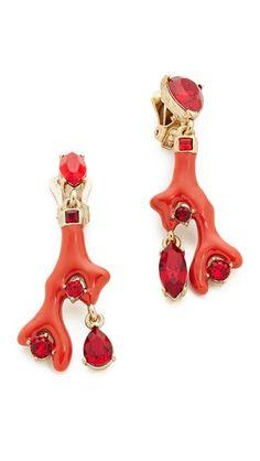 oscar de la renta coral earrings, $349.60*