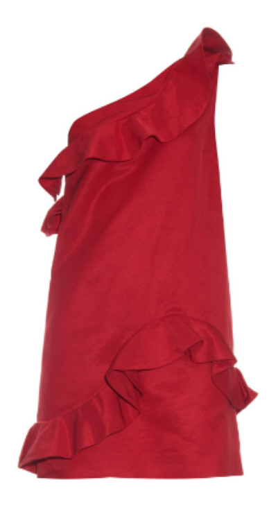 msgm ruffle-detail one-shoulder faille dress, $390