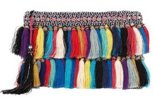 christophe sauvat rainbow tassel clutch, $245