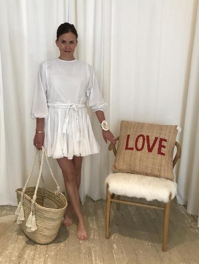 rhode resort dress, $355, phoenix two moon cuff, $425, giselle tote, $140, love pillow, $95, wishbone chair, $845