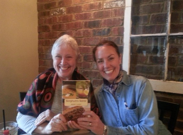 """Ronni Lundy with her book """"Sorghum Savor"""" with Amy Campbell. Not pictures, Mary Constantine."""