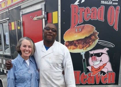 Amy with Michael Colquitt, owner of Bread of Heaven BBQ, Alcoa, Tennessee.