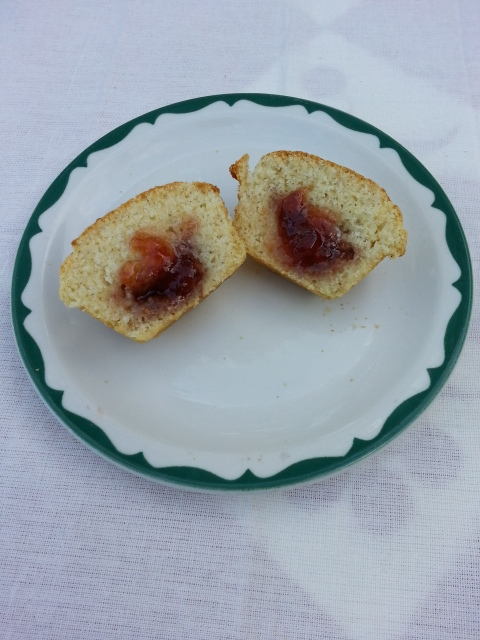 Surprise corn muffin with strawberry jam.