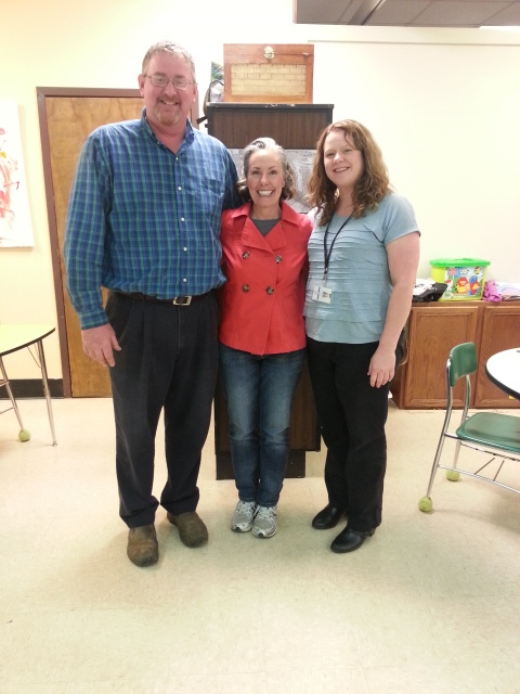 Mr. Jon Waters (Ag Science teacher), Amy Campbell and Keperly Camet (Special Education teacher) at the CDC 1 Classroom, Heritage High School, Blount County, Tennessee.