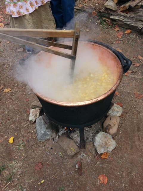 Crystal Wilson 's Great, Great Grand Mother's copper cook pot full of Apple Butter.