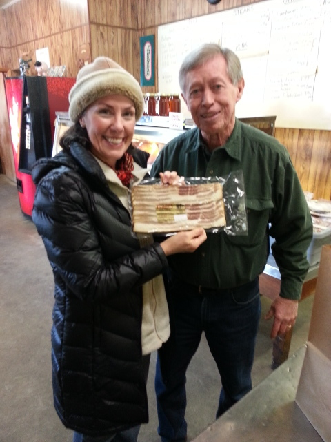 """Amy & Allan Benton at  http://bentonscountryhams2.com/ in Madisonville, TN, January, 2017.Allan has shared several packs of bacon with me to offer up as thank you gifts to our listeners. Check the link that says """"Benton Bacon"""" to enter to win."""