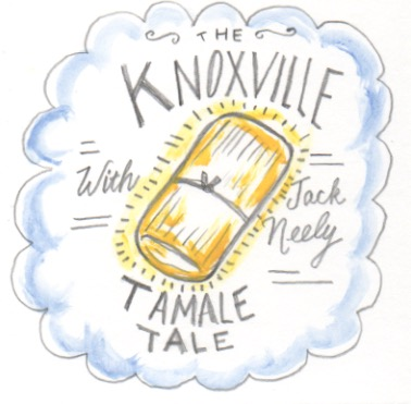 These are the way the tamales looked, tied with twine that Mr Perkins would sell on Market Square referenced in Jack's story. Illustration by Amy Campbell.