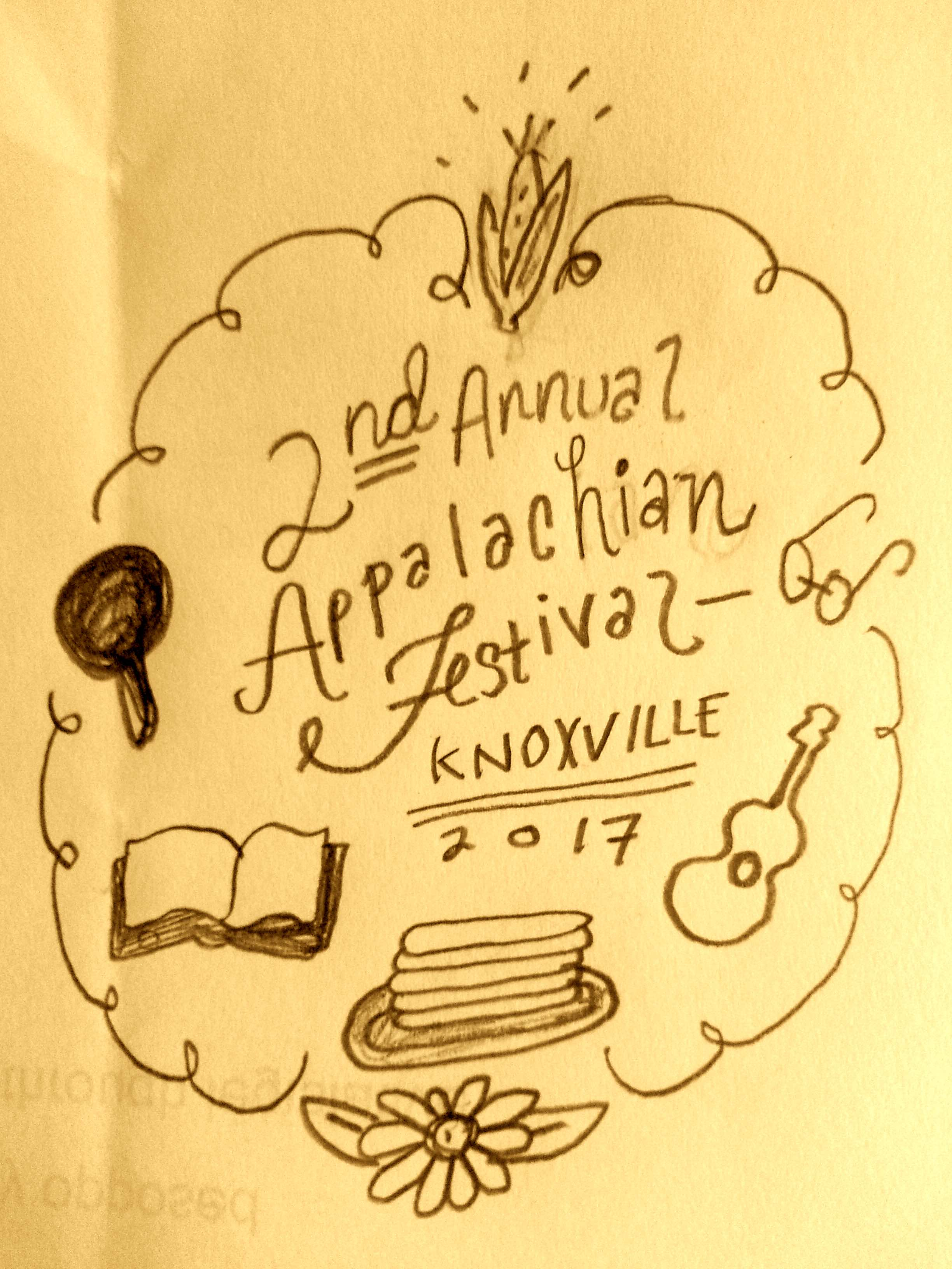 Illustration drawn to describe the 2nd Appalachian Festival, Knoxville by Amy Campbell