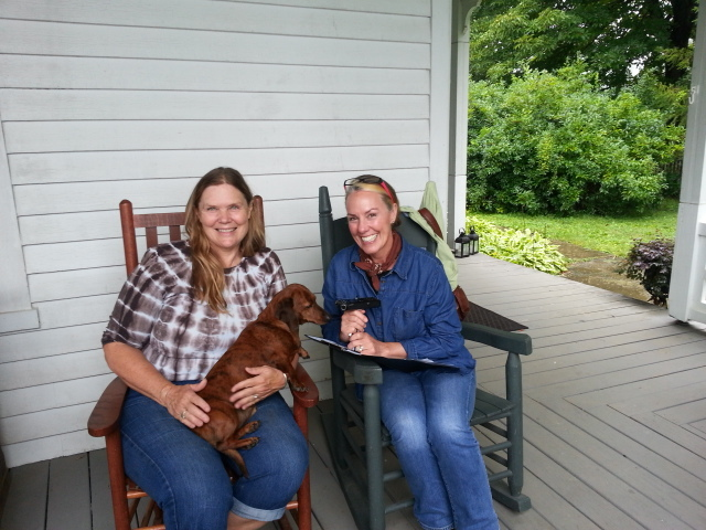 Martha Kern with Amy on the front porch of the house at Strong Stock Farm.https://www.facebook.com/strongstockfarm/
