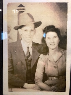 "Pictured are Aliceson Bales' Grandparents. ""Billy Ann King""(Aliceson's Grandmother), the person whom the ""Apple Cake"" recipe comes that Aliceson Bales shares on the podcast. Sorry this picture of the picture is not better. The recipe is below."