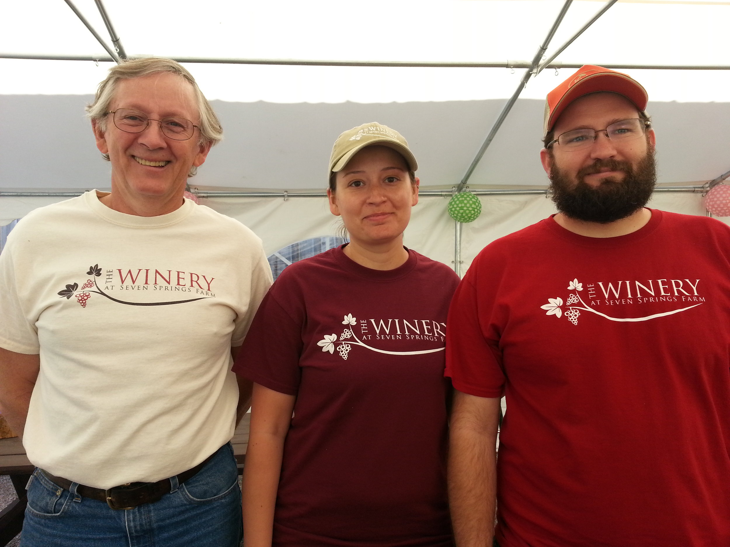 L - Rt: James Riddle, Nikki Riddle, Michael Coombs of  The Winery at Seven Springs Farm , Maynardville, Tennessee.