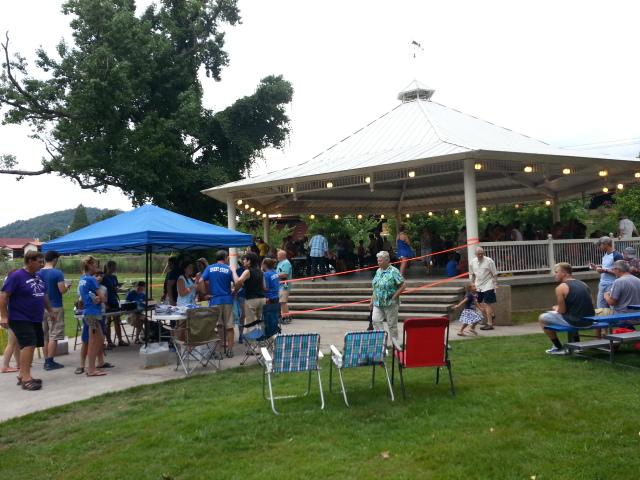The gazebo at the David Webb Memorial Park during the Cobbler Festival, Harriman, TN.