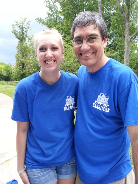 Rebecca Swepfinger (Special Events & PR Coordinator, City of Harriman) with her helpful Dad at the City of Harriman's Annual Cobbler Competition & Festival.