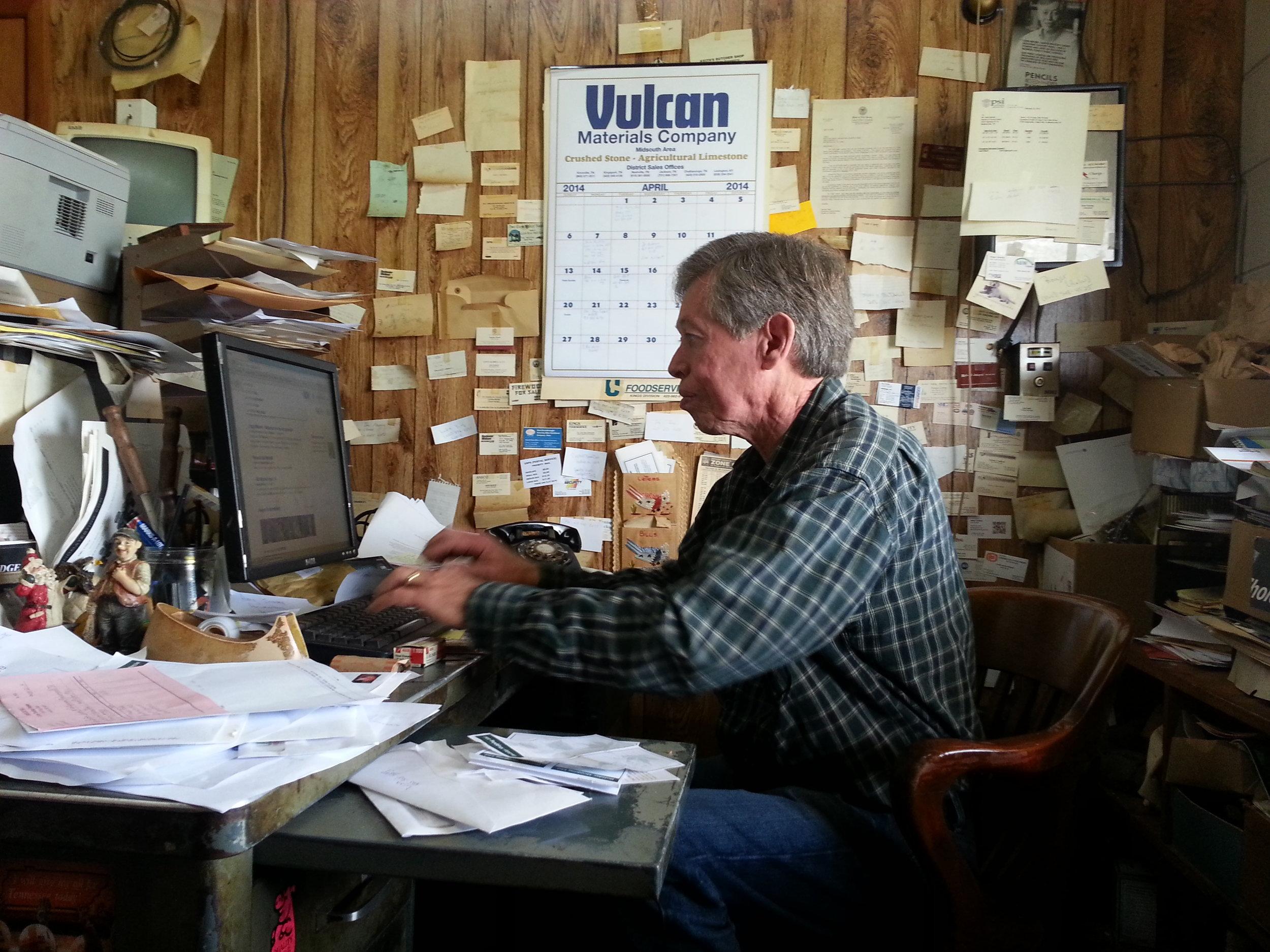 Allan Benton at his desk, Madisonville, TN. Photo: Amy Campbell. https://bentonscountryhams2.com/