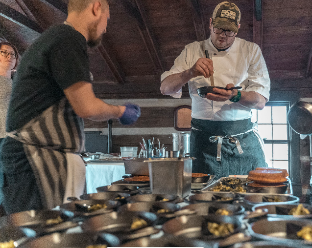 Chef Jeffrey DeAlejandro and crew of the Colonial James White Fort dinner series. These images come from the first in the series in January, 2019.