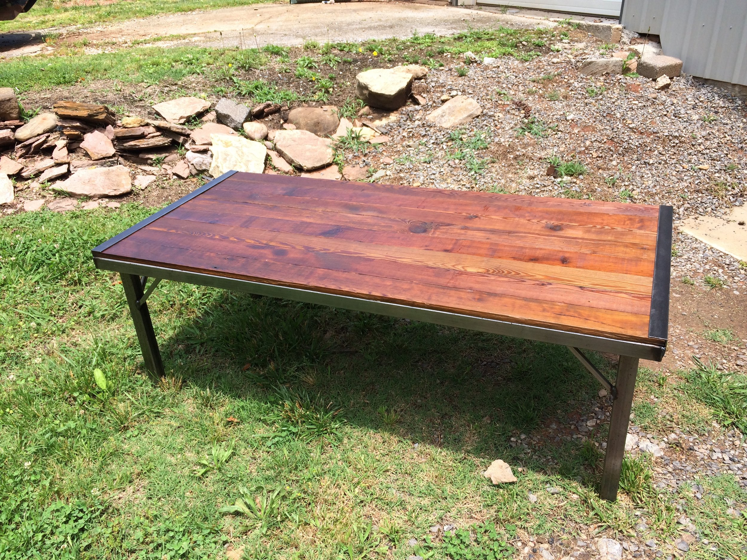 Clint Smith's coffee table he made of barn wood and welded steel.
