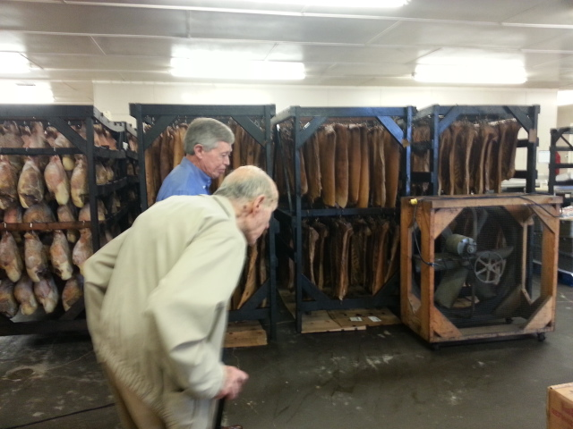 In this picture, Allan shows my father around Benton's Smoky Mountain Country Hams in Madisonville, Tennessee.