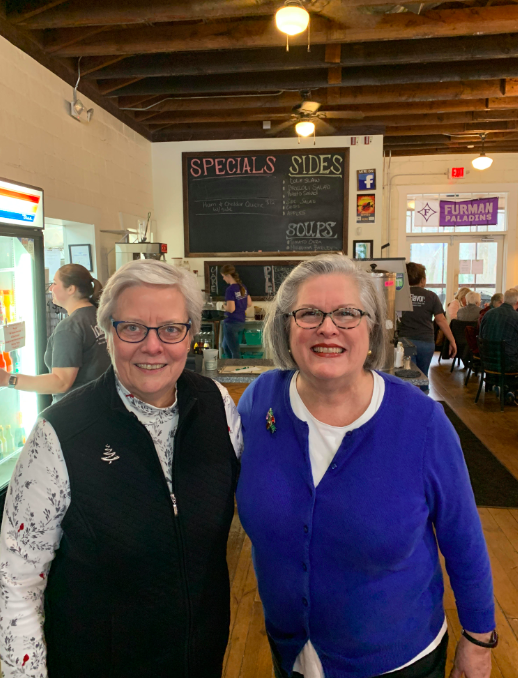 """Joyce and Nancy McCarrell who until the end of 2018 ran the restaurant at Traveler's Restaurant in Traveler's Rest, South Carolina. Photo from Fred Sauceman."