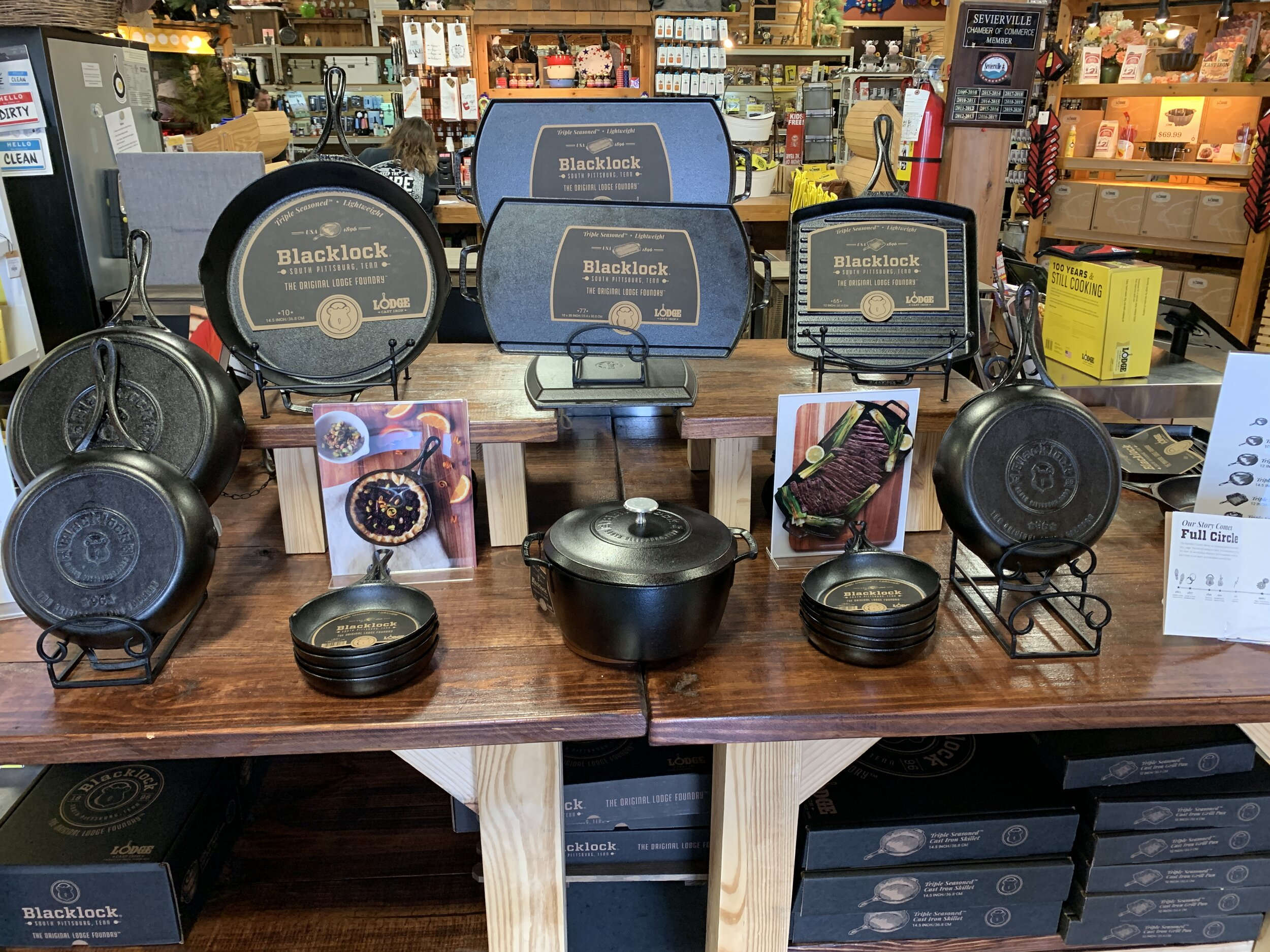"A picture by way of Fred Sauceman featuring Lodge  Blacklock"" cookware."