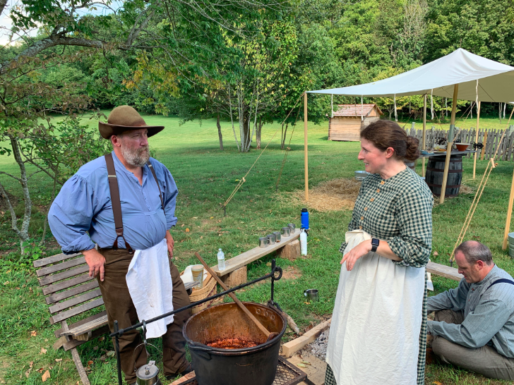 Steve Smith and Marcianne O'Day make apple butter at the Cordell Hull Birthplace State Park in Pickett County, Tennessee. Photo by Fred Sauceman.