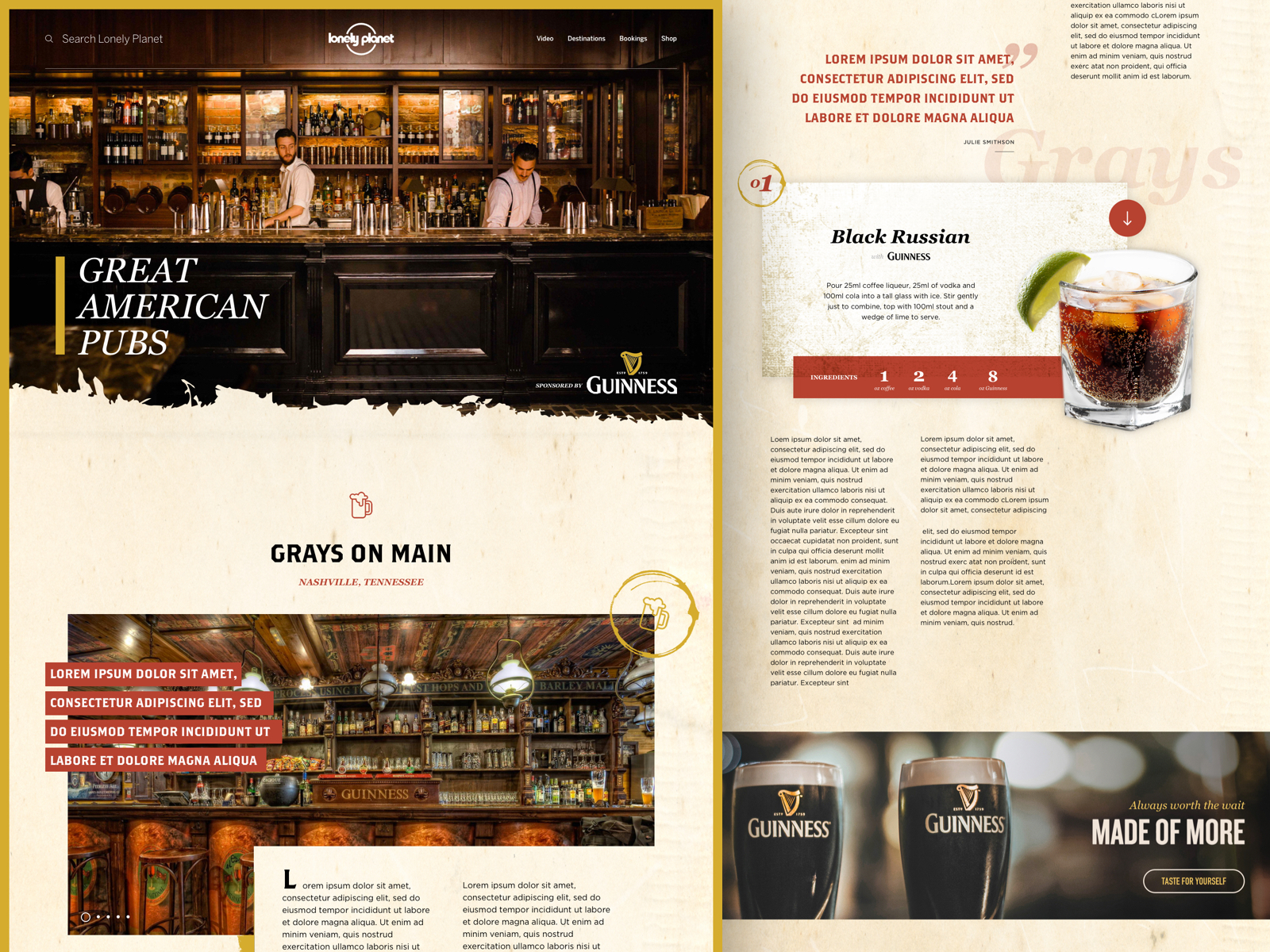 Guinness x Lonely Planet - Concept, art direction, web design