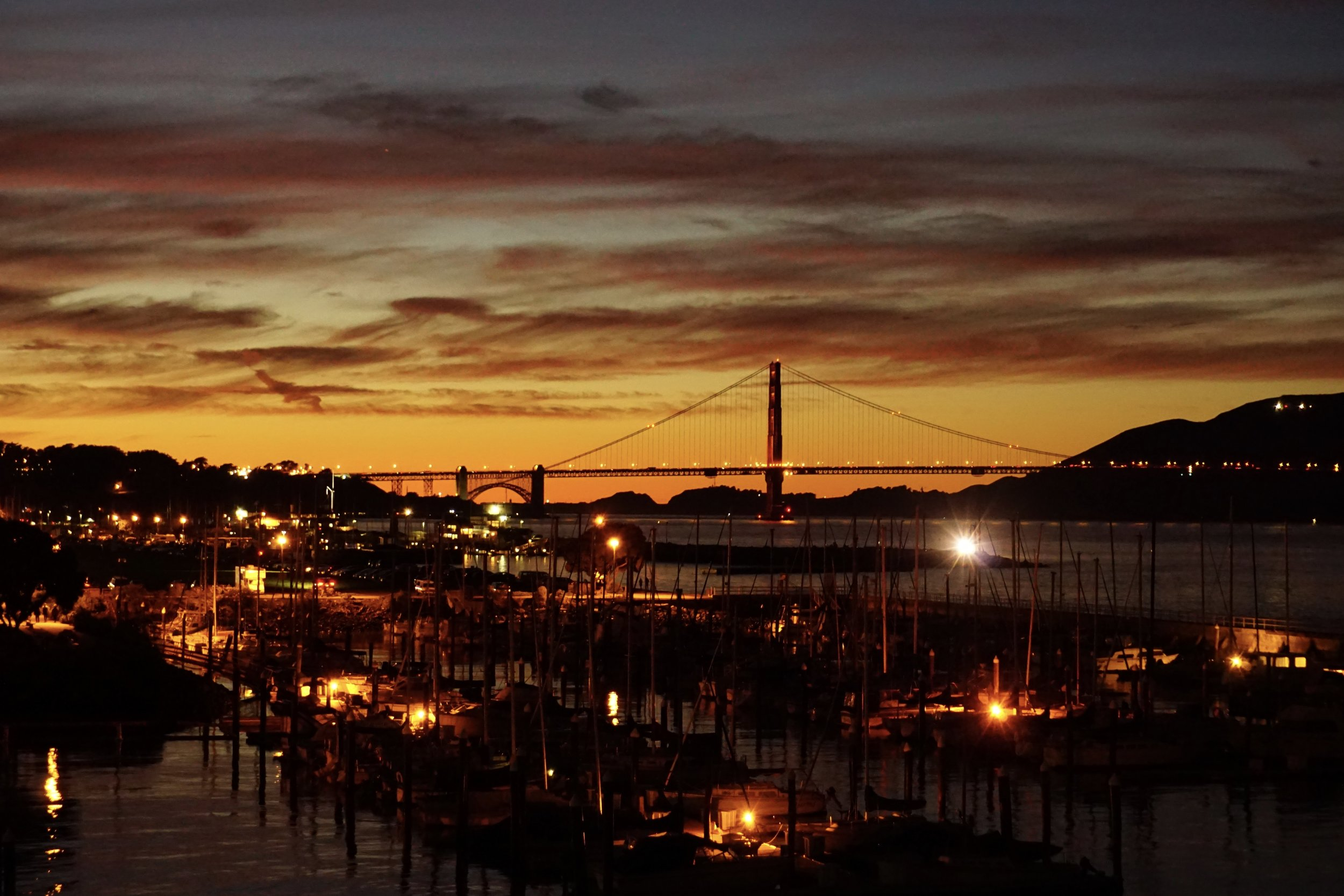 This City constantly shows off. Here from Ft. Mason, the Bridge + Sunset need no edits.
