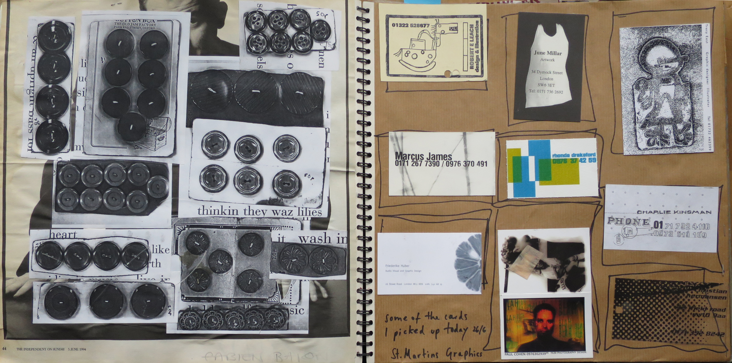 Photocopied vintage buttons and cards from Central St Martins degree show - including Rhonda Drakeford, co-owner of Darkroom!