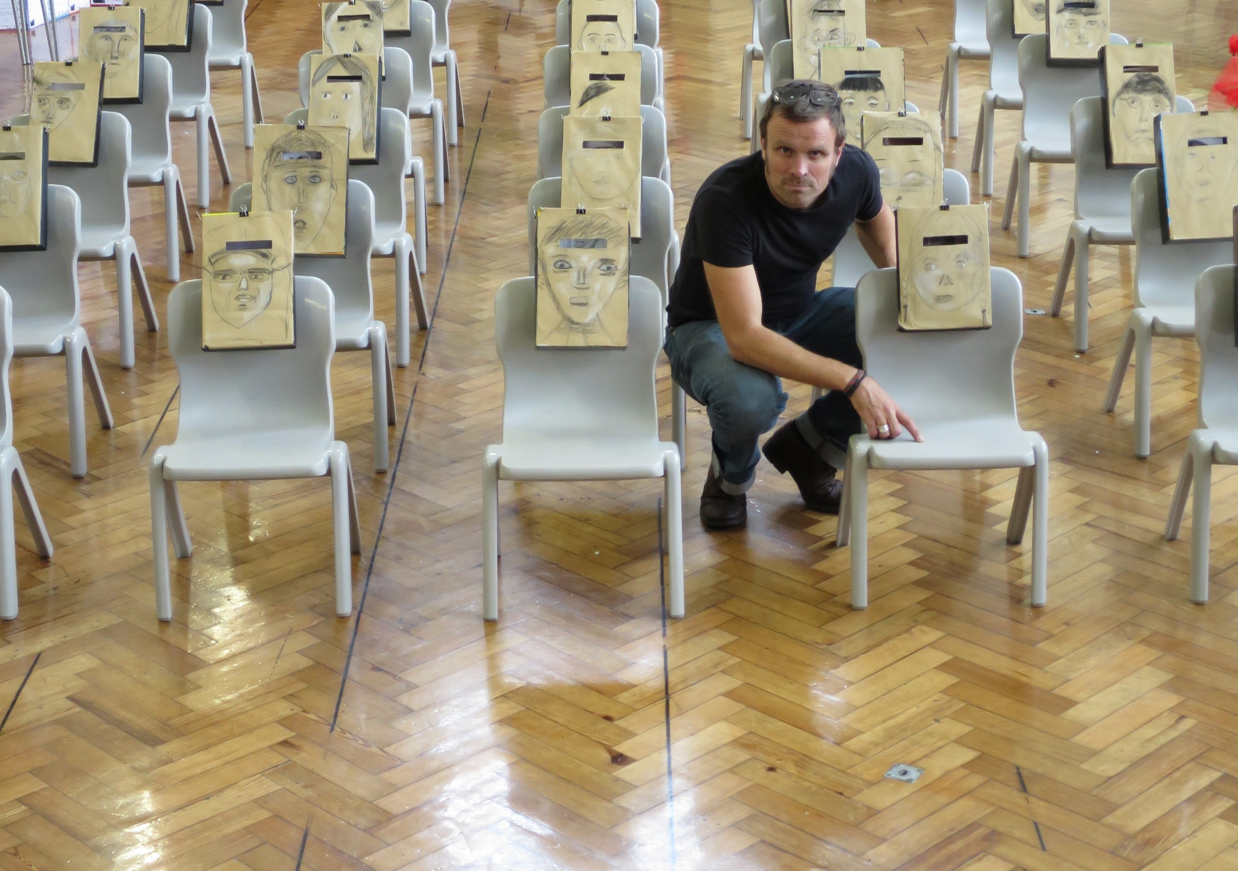 Andy with the installation at Newport Primary School, Leyton.