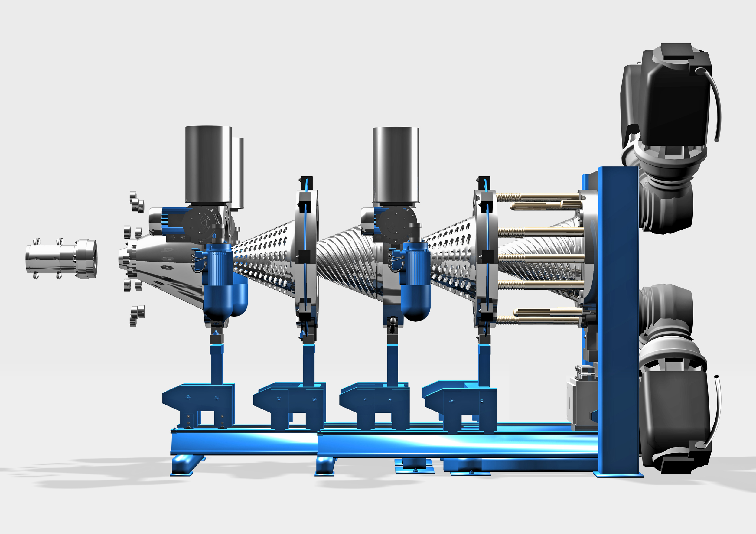 Illustration of a 2-rotor CONEX-extruder at open position with telescopic frame placed on floor