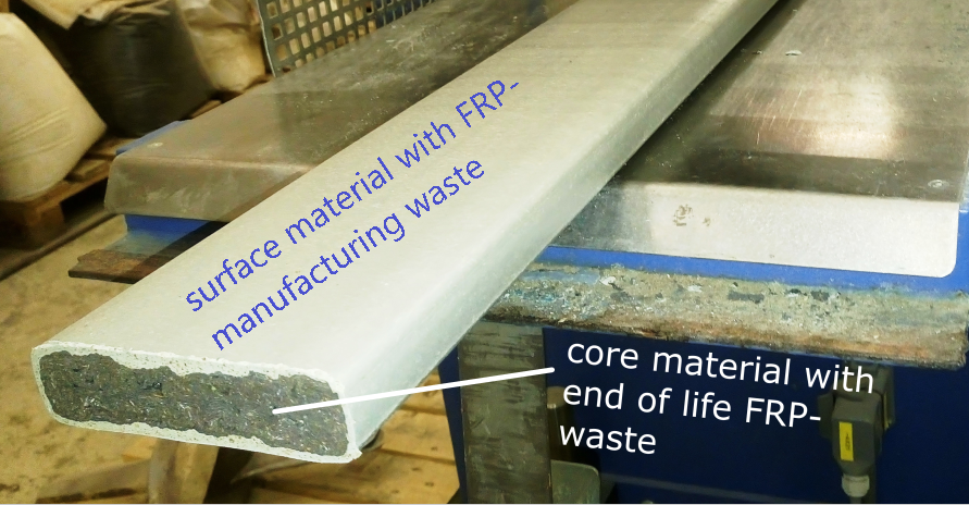 Multilayer solid board 120x30mm with FRP-waste both from manufacturing and EoL