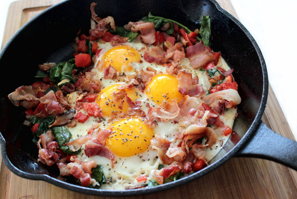 rustic style bacon and eggs