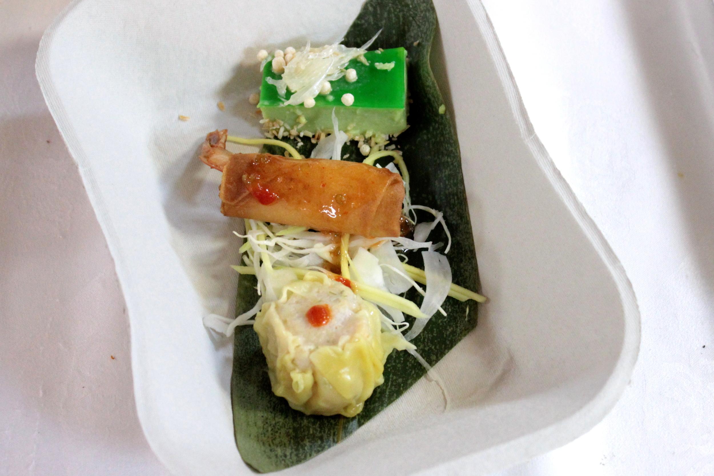Steamed, Fried & Chilled Dim Sum Trio - Chicken Lemongrass Siu Mai, Prawn and Sticky Rice Roll, Pandan Custard with Dulce de Leche