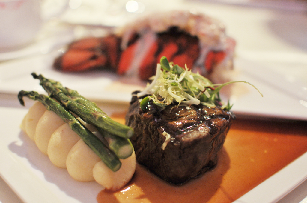 Grilled Black Angus filet mignon (5oz) in Port Wine reduction with asparagus and garlic whipped potatoes