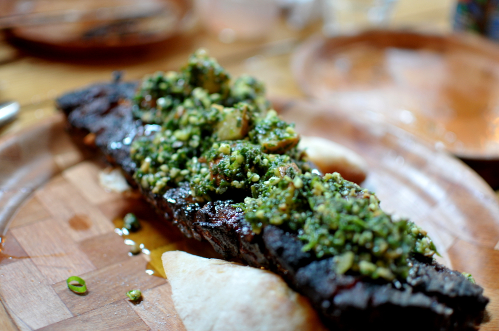 Baby back ribs with burst cherry tomato basil pesto – full slab