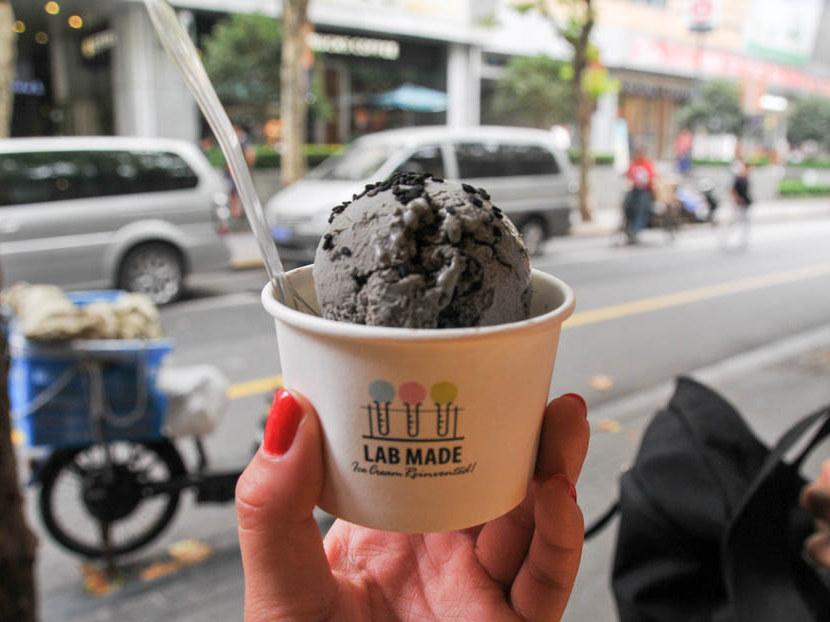 Lab Made black sesame ice cream frozen with liquid nitrogen