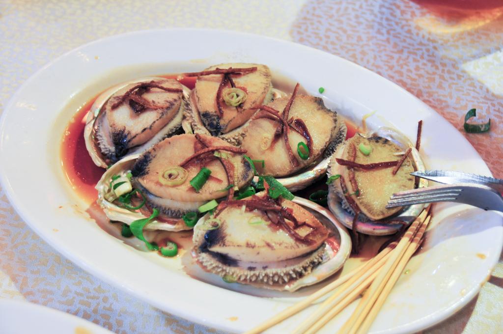 Freshly steamed abalone