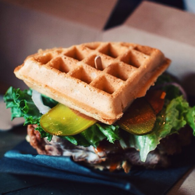 The Dirty Birdger chicken and waffle