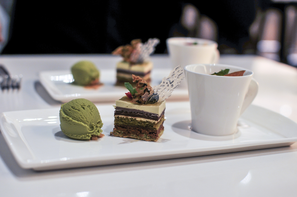 House made matcha ice cream,Green Tea Opera cake, Amaretto Panna Cotta