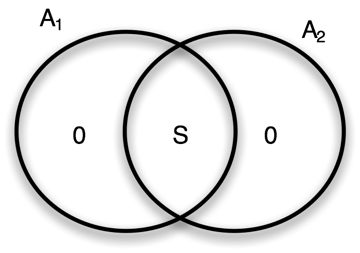 Fig. 1: Venn diagram of the entropies in the measurement device made by the pieces   A  1   and         A   2        .