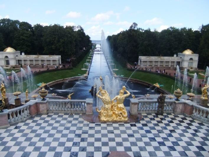 A view of the lower gardens at Peterhof Palace.