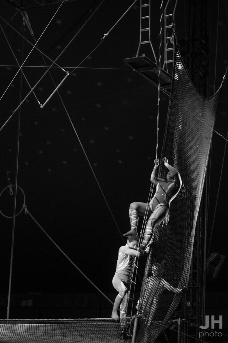 Acrobats climbing to the perch and trapeze at the Cole Bros. Circus in Myrtle Beach, South Carolina