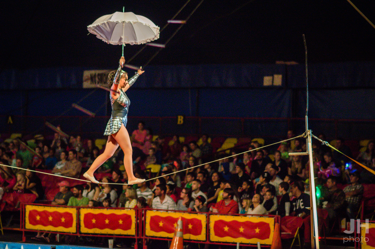 gymnast walking a slack rope at the Cole Bros. Circus in Myrtle Beach, South Carolina