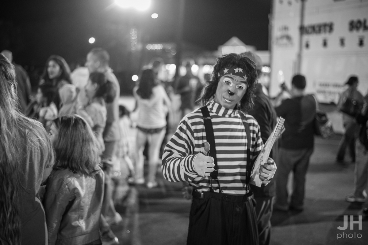 a street portrait of a clown at the Cole Bros. Circus in Myrtle Beach, South Carolina