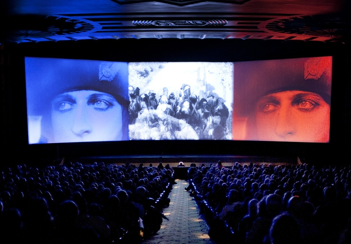 The 1927 film  Napoleon was filmed in 4:1 aspect ratio and it took 3 projectors to show it in a theater.