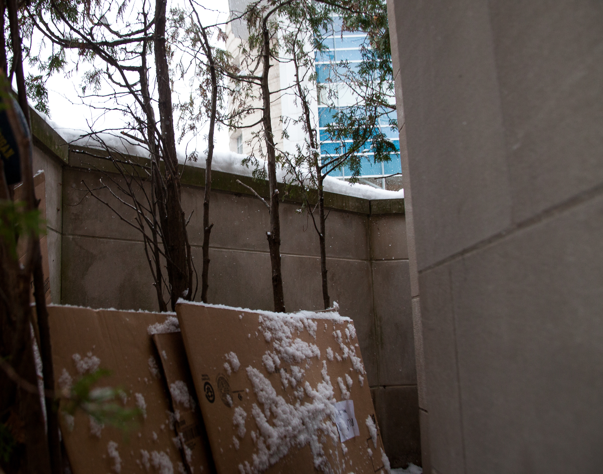 Found behind the Fountain Street Church sign are materials used to create shelter at night. The church allows homeless youth to sleep on church grounds, but the police kick them out of the space at 8 am.